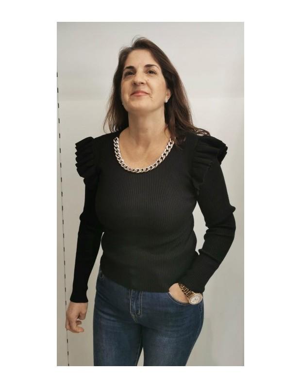 Suéter cadena. Modelo MCY02588CADENAS. Colores: blanco, negro o camel