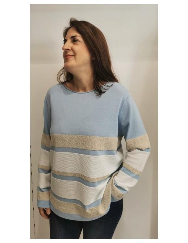 Suéter Modelo CH8131 CRISTINA. Color azul celeste.