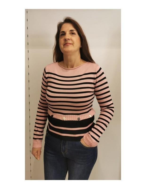 Suéter marinero. Modelo 90819 marinero. Talla única (36 - 40). Colores: rosa, beis o blanco.