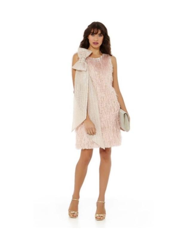 Vestido flecos - Modelo 7122/RS40 - Color rosa