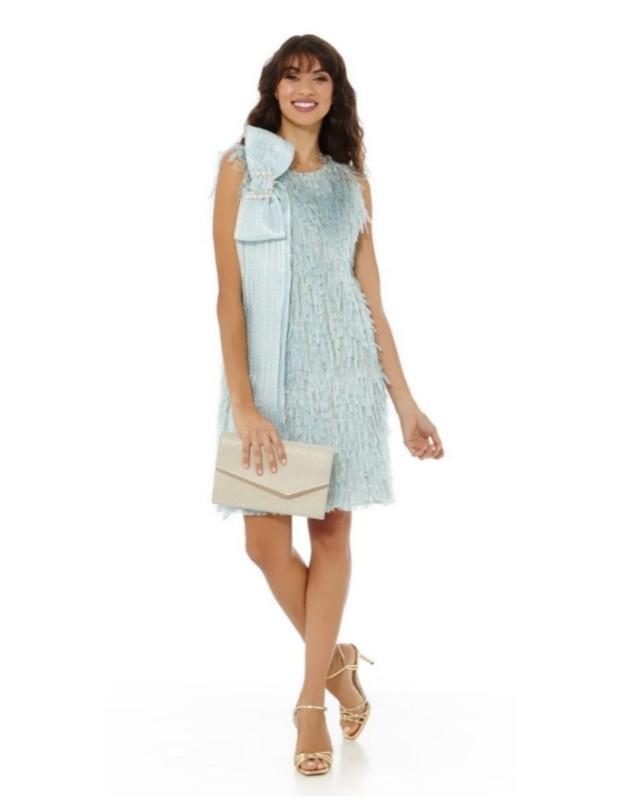 Vestido flecos - Modelo 7122/RS40 - Color azul celeste