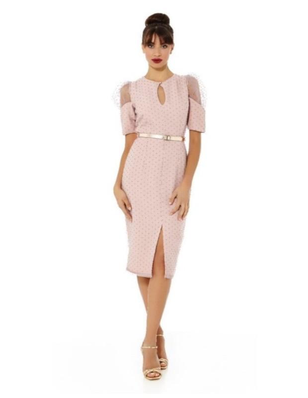 Vestido plumeti - Modelo 7102/RS42 - Color rosa empolvado