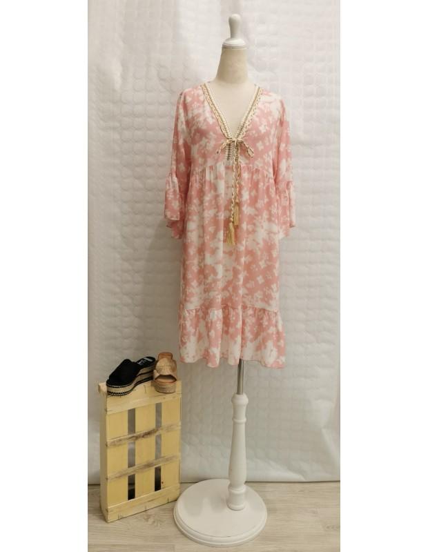 Vestido ibiza - Modelo 01121 - Talla única (38 - 44) - Colores: rosa y agua mar.