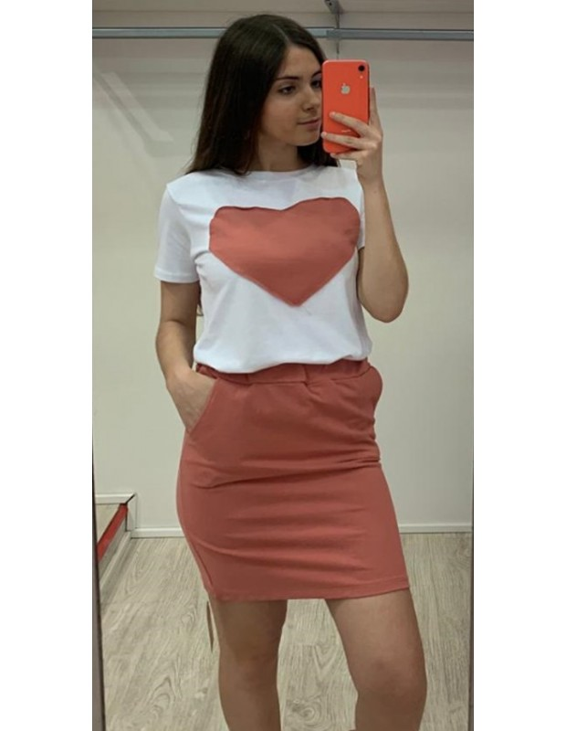 Conjuto de camiseta y falsa - Modelo 075020 corazón - Talla única 36 a 40