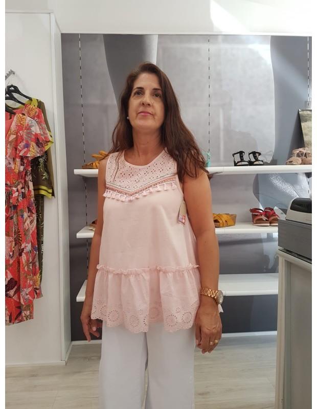 Blusa popelin - Modelo x28030 Cristina - Color rosa