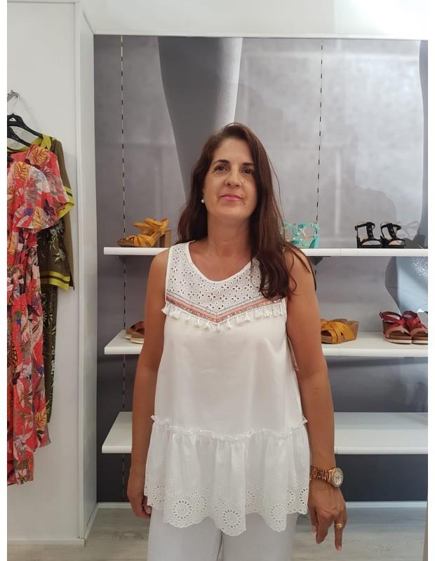 Blusa popelin - Modelo x28030 Cristina - Color blanco