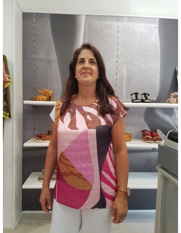 Camiseta de mujer raso y punto - Modelo AN - 210141