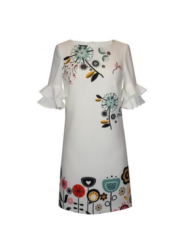 Vestido flores - Modelo 43647 blanco - Firma arggido