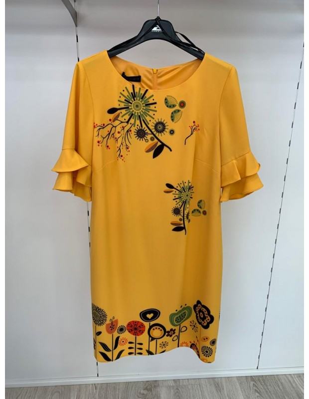 Vestido flores - Modelo 43647 ocre - Firma arggido