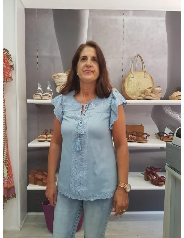 Suéter de mujer troquelado - Modelo LA-190657 - Color azul