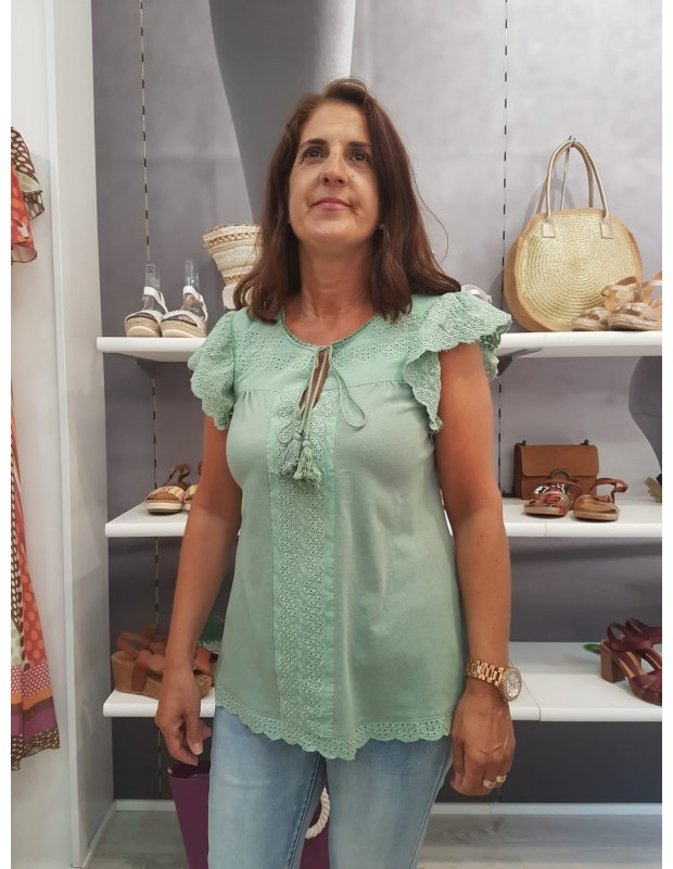 Suéter de mujer troquelado - Modelo LA-190657 - Color verde