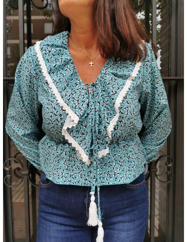 Blusa celia de mujer. Modelo 2465 celia. Talla única (36 - 40). Color turquesa.