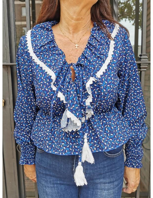 Blusa celia de mujer. Modelo 2465 celia. Talla única (36 - 40). Color azulón.