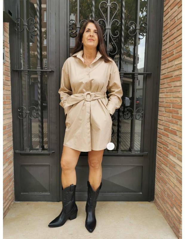 Vestido camisero de mujer. Modelo L-1041 popelin. Color beis.