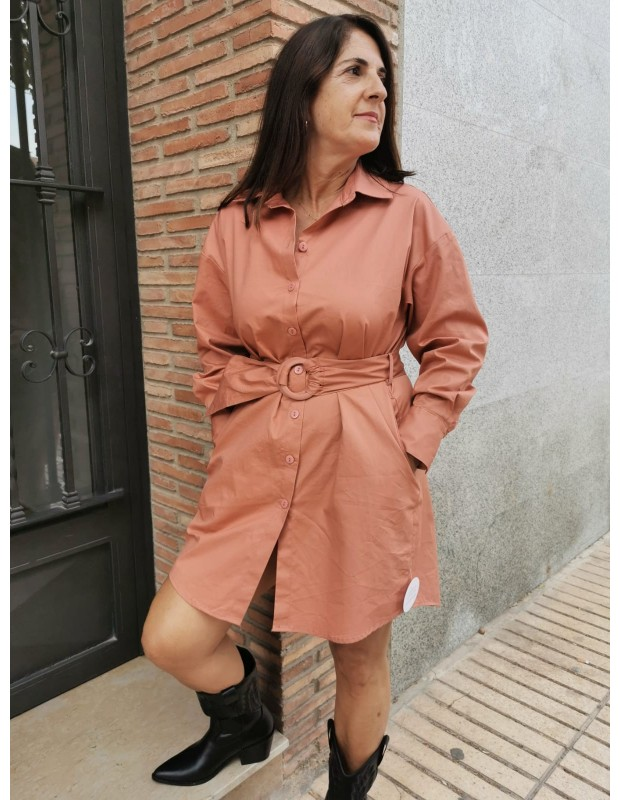 Vestido camisero de mujer. Modelo L-1041 popelin. Color teja.