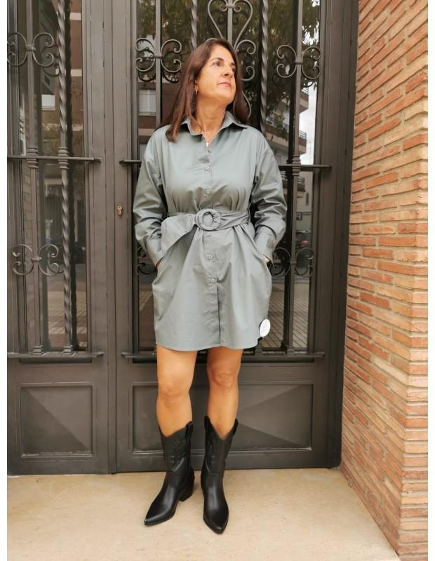 Vestido camisero de mujer. Modelo L-1041 popelin. Color verde pato.