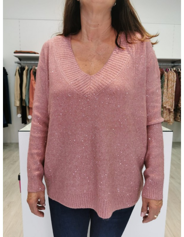 Suéter de mujer de pico. Modelo CH8077. Color Rosa.