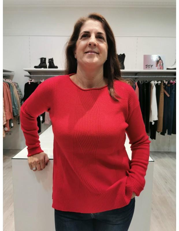 Suéter de mujer. Modelo N6793 trenza. Color Gris.