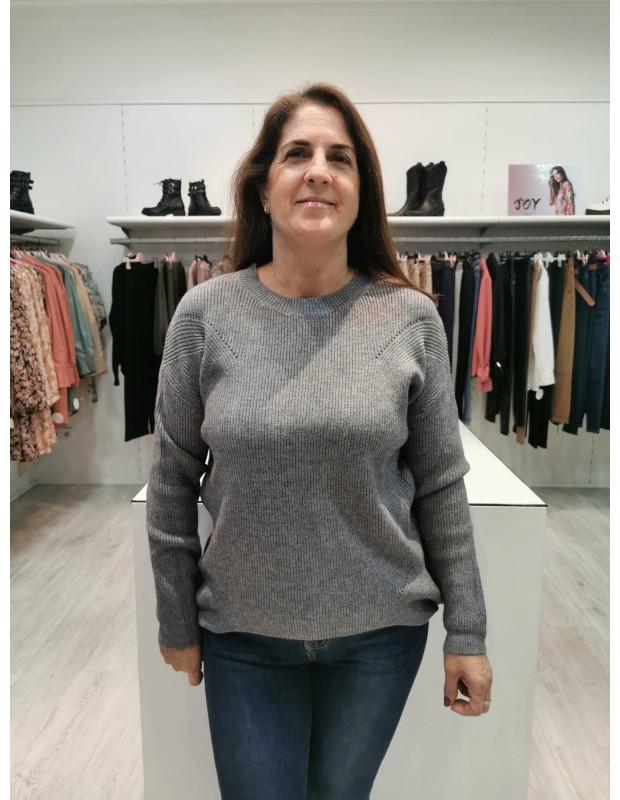 Suéter Canalé de mujer. Modelo C268. Color Gris.