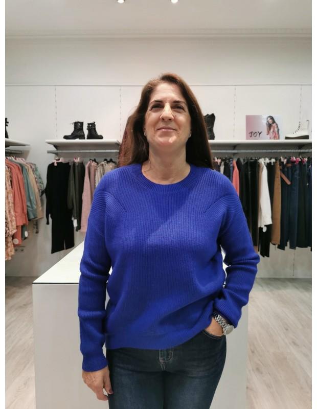 Suéter Canalé de mujer. Modelo C268. Color Azul.