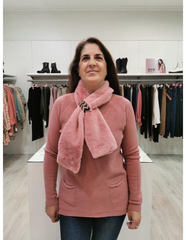 Suéter de mujer con cuello a juego. Modelo P8027.