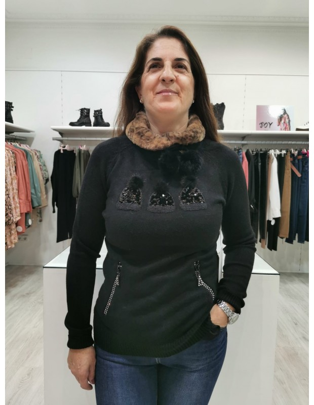 Suéter gorros de mujer - Modelo QJ95603 - Color negro