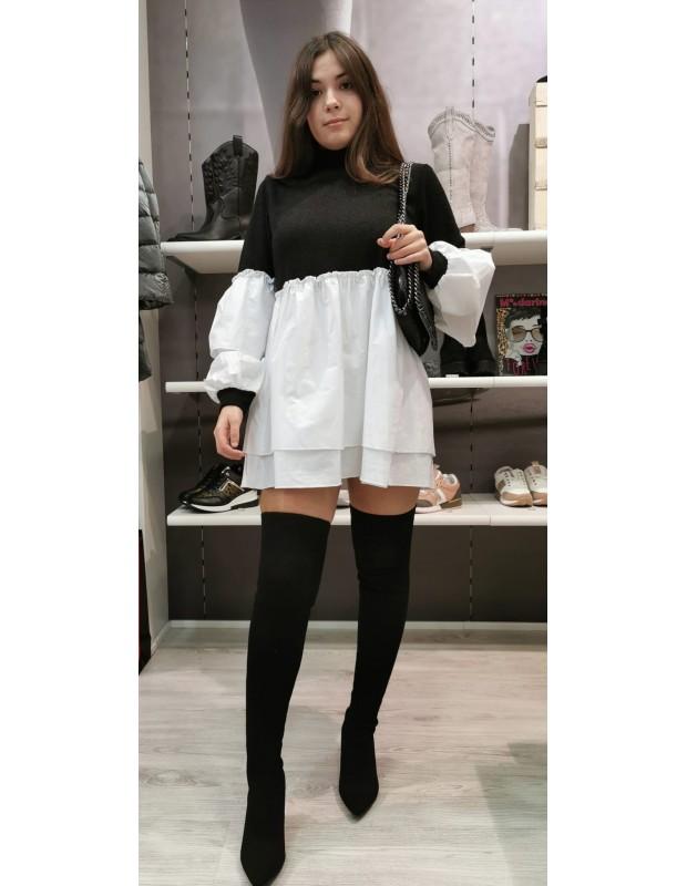 Vestido o bluson. Modelo combi popelin. Color negro.