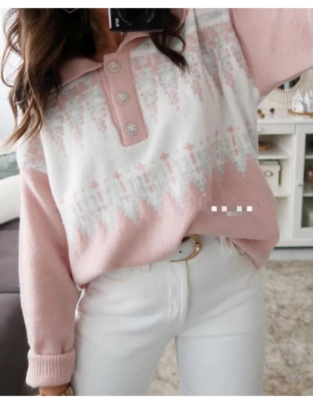 Suéter botones. Modelo AT5534. Talla única (38 - 44). Color rosa.