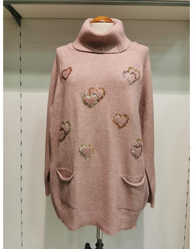 Suéter corazón Modelo QJM95803 - Color rosa