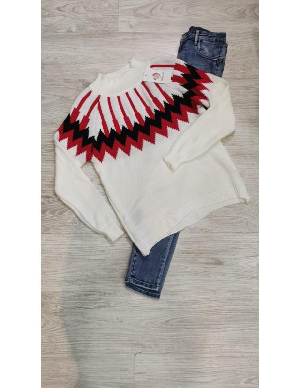 Suéter egipcio. Modelo 085521. Talla única (36 - 42). Color Crudo.