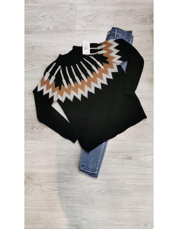 Suéter egipcio. Modelo 085521. Talla única (36 - 42). Color Negro.