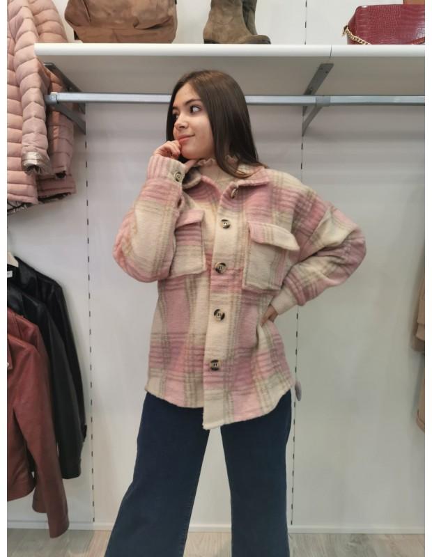 Camisa cuadros corta. Modelo 0145021 paño. Talla única (36 - 42). Color rosa palo.